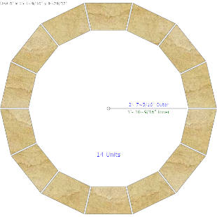 Circular Paving Calculator with Full Scale Templates